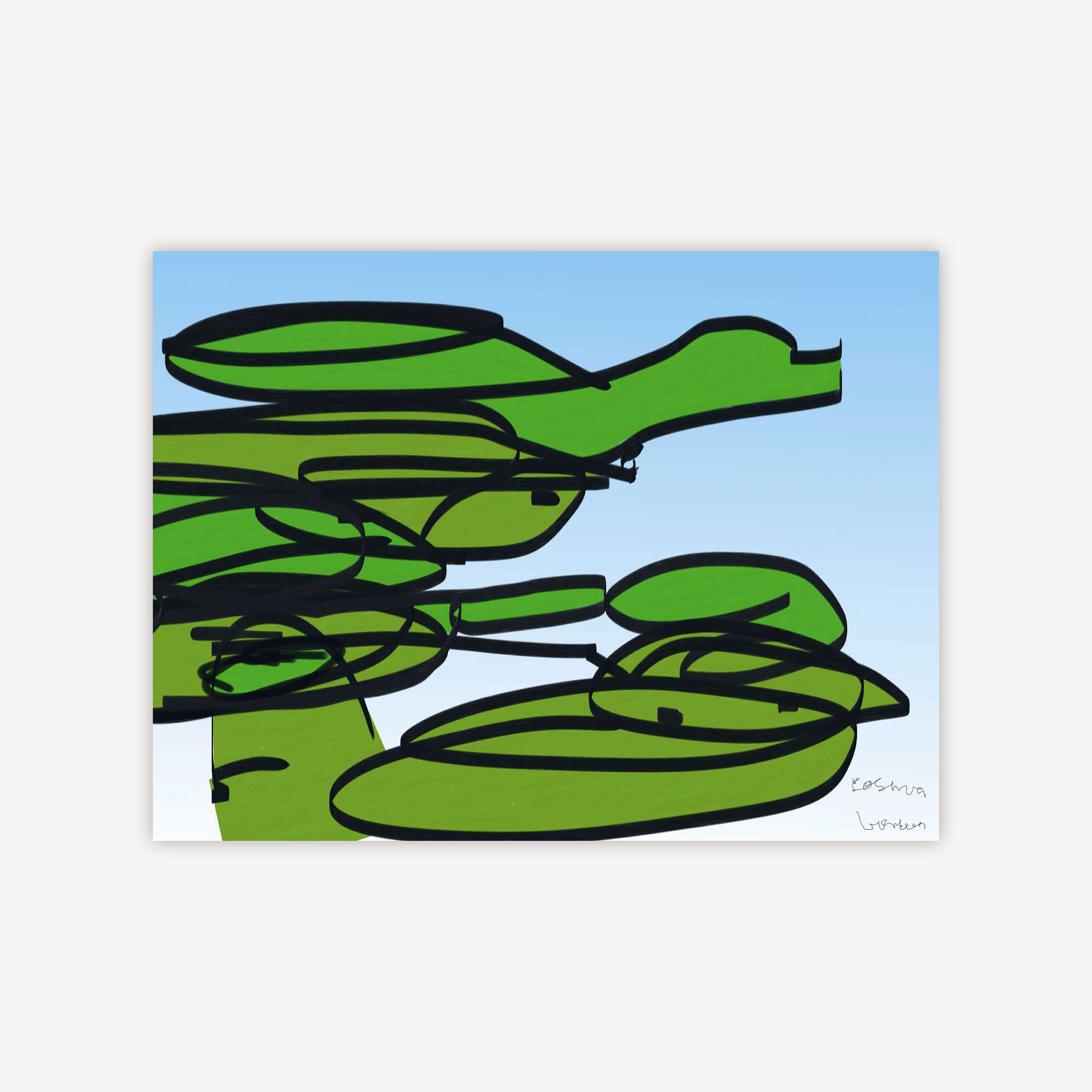 Frogs Jumping off Lily Pads by Josh Handler